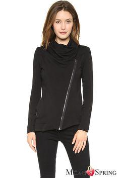 Black A long skirt Zipper Jacket