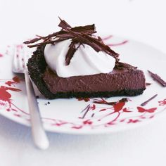 2014 Thanksgiving Vanilla-flavored Cream Pie with Chocolate Crust - Chocolate Desserts, cocoa pudding, homey silky pie