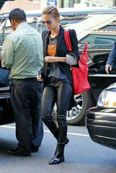 2a253bce57 Nicole Richie Photos - Nicole Richie seen wearing leather pants and carries  her over sized designer bag while leaving her hotel in New York City.