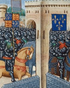 English army in Saint Denis from BL Royal 20 C IX, f. 83v by Jean Chartier, 1475 - 1499. The British Library, Public Domain