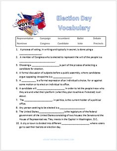 Election Day Vocabulary Worksheet Freebie