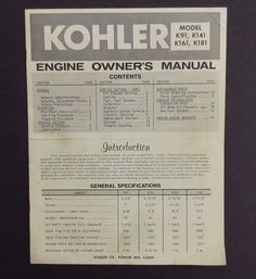 Kohler Engine Owners Manual that covers Kohler air cooled, gasoline engines with standard equipment. Kohler Engines, Gasoline Engine, Owners Manual, Engineering, Models, Templates, Technology, Fashion Models