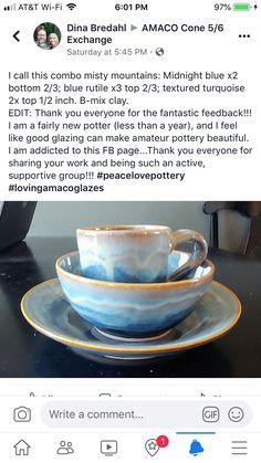 Glazes For Pottery, Pottery Mugs, Ceramic Pottery, Pottery Art, Amaco Glazes, Ceramic Glaze Recipes, Pottery Techniques, Pottery Sculpture, Ceramics Projects