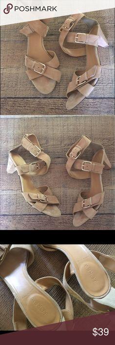 """J.crew sandals J.crew tan Suede low heel sandals """"Luca"""" J.Crew Factory Shoes Sandals"""
