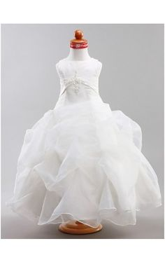 Ball Gown Jewel Floor-length Satin Organza Flower Girl Dress