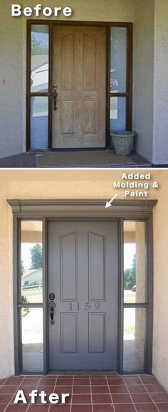 Easy and Cheap Curb Appeal Ideas Anyone Can Do (on a budget!) Add molding and paint to your front door! ~ 17 Impressive Curb Appeal Ideas (cheap and easy!)Add molding and paint to your front door! ~ 17 Impressive Curb Appeal Ideas (cheap and easy! Home Diy, House Exterior, Curb Appeal, Front Door, Home Remodeling, Diy Home Improvement, New Homes, House, Home Projects