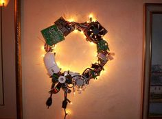 It's almost Christmas: geek christmas wreath from computer peripheral