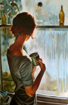 Window light by Thomas Saliot. Oil on canvas