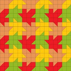 Tessellating maple leaf quilt pattern using only squares & squares Cute Quilts, Scrappy Quilts, Half Square Triangle Quilts, Square Quilt, Quilt Patterns Free, Pattern Blocks, Quilting Projects, Quilting Designs, Quilt Design