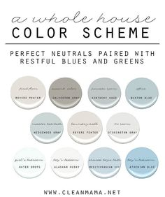 Easy Ideas to Choose Paint Colors for the Whole House. How to Choose a Color Scheme for Your Home. Neutral Paint Colors Paired with Restful Blues and Greens. First Floor: Benjamin Moore Revere Pewter. Interior Paint Colors, Paint Colors For Home, House Colors, Interior Painting, Calming Paint Colors, Blue Gray Paint Colors, Modern Paint Colors, Paint Colors Laundry Room, Gray Accent Colors