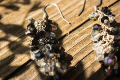 Black and Silver Drop Earrings by JaiMichelleR on Etsy