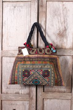 Brown Tote Bag Handmade by HMONG Hill Tribes in Thailand. Fair Trade item by ThaiHandbags, $18.99 #ethniclanna #hmongtribes #pompoms #totebag #hilltribes #handbags #handmadebags