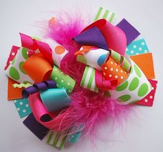 boutique funky marabou bow.  this one's on etsy, but it looks simple enough to recreate DIY