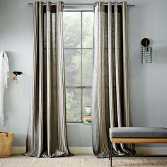 Varick Striped Linen Window Panel from @west elm. - $149.00