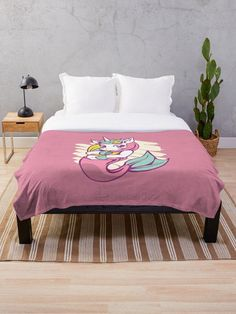 Cute and Beautiful Kids Mermaid Unicorn Throw Blanket.  This cute mermaid unicorn is the perfect design for any girl's bedroom.  Who can resist this beautiful mermaid unicorn with a pink and blue tail.  #unicorn #mermaid #giftideas #fashion #homedecor #artsandcrafts #stickers #redbubblestickers #redbubble #art #redbubbleshop #ad @giftsbyminuet Cute Mermaid, Beautiful Mermaid, Funny Bubbles, Blue Tail, Red Bubble Stickers, Cartoon Design, Pug Love, Beautiful Children, Sell Your Art