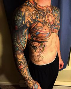 Armored sleeve tattoo by Steven Mckenzie