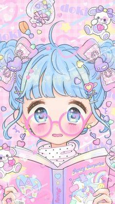 64 Ideas For Baby Ilustration Art Kawaii Girls Anime, Anime Girl Cute, Kawaii Anime Girl, Anime Art Girl, Kawaii Chibi, Illustration Mignonne, Japon Illustration, Kawaii Illustration, Heart Illustration