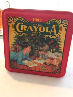 1992 Vintage Crayola Christmas Tin  Colorful by KMSCollectibles