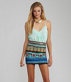GB Pintuck Cami and GB Printed Bodycon Mini Skirt #Dillards