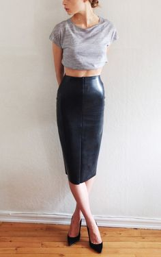 Recreate this look with the #CAbi Fall 2013 Swag Tee, Fleather Skirt, and Lattice Belt!