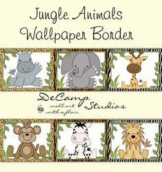 SAFARI ANIMALS WALLPAPER Border Wall Decal Baby Boy Jungle Nursery Decor
