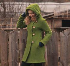 Kurzmäntel - Mantel Wintermantel Wollmantel apfelgrün - ein Designerstück von basia-kollek bei DaWanda