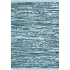 Safavieh Hand-woven Rag Rug Blue Cotton Rug (8' x 10') - Overstock™ Shopping - Great Deals on Safavieh 7x9 - 10x14 Rugs