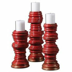 Adorn your home with this set of bright red  crackled  stacked coil...