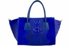 Italian Leather Handbags Etasico Lana Trapeze Cobalt Blue Croco Print Tote bags -  Custom made purses in Florence Italy.  #Etasico #Etasicohandbags #etasicobags #etasicopurses #etasicolana #cobaltbluebags #cobaltbluehandbags #cobaltbluepurses #crocohandbags #Crocobags #crocopurses #leatherhandbags #leatherbags