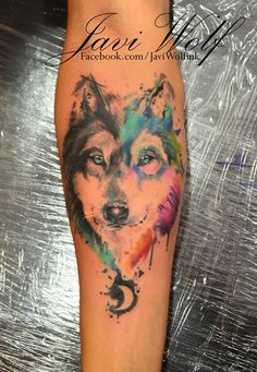 Javi Wolf Ink — Sketch Watercolor Wolf. Tatooed by @javiwolfink I want this: