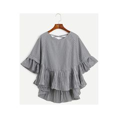 SheIn(sheinside) Black Vertical Striped Lattice-Back Ruffle High Low... ($14) ❤ liked on Polyvore featuring tops, blouses, black, half sleeve blouse, embellished blouse, vertical stripe blouse, half sleeve tops and embellished tops