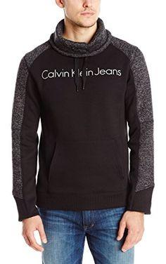 Calvin Klein Jeans Men's Melange Fleece Funnel Neck, Black, 2X-Large ❤ Calvin Klein Jeans Men's Collection