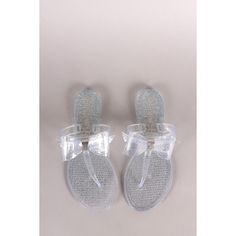 Wild Diva Lounge Glitter Bow Thong Flat Sandal ($27) via Polyvore featuring shoes, sandals, jelly bow sandals, glitter flats, flat pumps, glitter sandals and slip-on shoes