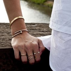 Layered bracelets and rings for an eclectic look! -Cartier Love Bracelet and Juste un Clou #Bracelets