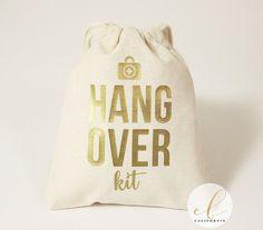 Hangover Kit Favor Bag // Hangover Kit Bag // Bachelorette Party Favor Bags // Wedding Favor Bags  // 5 x 6 Cotton Favor Bags