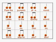 O For Tuna Orff: Fall Favorites. Links to tons of great songs and activities for fall in the elementary music room. Includes visuals to use with the songs! Age Foundations: English/Language Arts and Mathematics Indicator and Kindergarten Music, Preschool Music, Music Activities, Autumn Activities, Teaching Music, Music Games, Primary Activities, Halloween Activities, Physical Activities