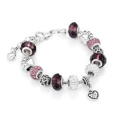 Antique Bracelet Purple with Crystal Beads