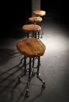 Reclaimed wood furniture and live edge tables made from fallen trees. | {Cross Plunge Bar Stool}