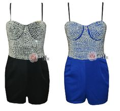 2014 Free shipping  Fashion strapless pearl embroidery chest pad playsuit  Jumpsuit  TB 6160 $29,02
