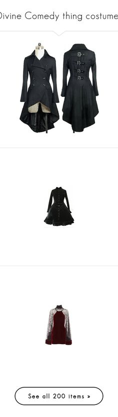"""""""Divine Comedy thing costumes"""" by shulabond ❤ liked on Polyvore featuring outerwear, coats, jackets, cosplay, dresses, lolita, gothic, gothic lolita dress, goth dresses and gothic dresses"""