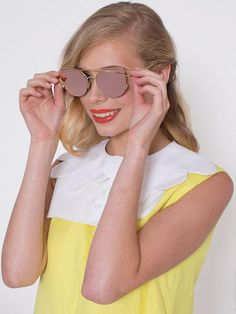 Dahlia Pink Mirrored Lens Sunglasses With Gold Bar Detail