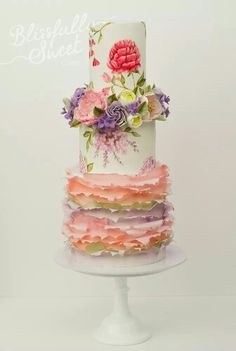 """""""Summer Wedding""""~Pastel Florals Wedding Cake/Hand-painted flowers,wafer paper ruffles,halo of sugar flowers between top layers. The cake is lemon,coconut,raspberry & orange/almond cake by Blissfully Sweet Beautiful Wedding Cakes, Gorgeous Cakes, Pretty Cakes, Cute Cakes, Sweet Cakes, Amazing Cakes, Hand Painted Cakes, Gateaux Cake, Ruffle Cake"""