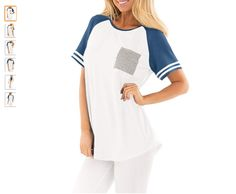 Amazon.com  For G and PL Women Short Sleeve Baseball Tee Shirt Crew Neck  Colorblock Striped Tops  Clothing 468dd5ad0