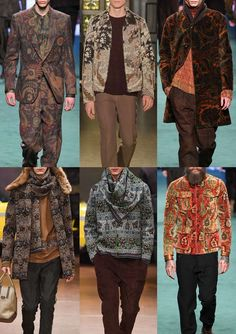 Upholstery Style A/W 15/16   Worn Carpets – Paisleys and Eastern Patterns – Tapestries Inspired Designs – Striped Upholstery Styles – Large Scale Pattern – Rich Autumnal Colour Hues  Etro / Pringle of Scotland / Etro / Antonio Marras / Antonio Marras / Etro