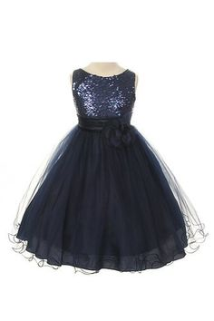 Absolutely Beautiful Sequined Bodice with Double Tulle Skirt Party flower Girl Dress-KD305-Navy-10