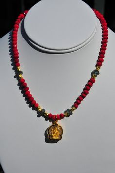 Ruby quartz and gold Ganesh necklace / Hindu necklace/ by Tarinee, $70.00