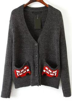 Grey V Neck Bus Print Pockets Knit Cardigan 33.33