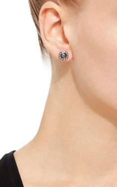 Black Glass Pearl and Diamond Stud Earrings by OSCAR DE LA RENTA Now Available on Moda Operandi