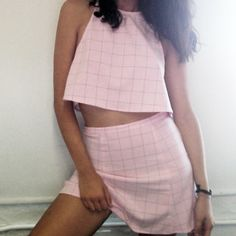 New colors! The Lolita Crop and Mini in Black Grid on Pink, coming soon! #AmericanApparel #SneakPeek