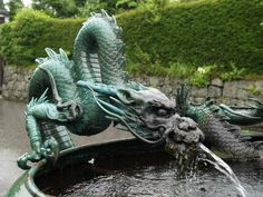 Nikko, Japan: Rinno-ji Temple: Dragon Fountain (in Rain) . On my cybertravels to find 'my' Yang Water Dragon for this New Year, I found that the Japanese ones suit my taste. Japanese Dragon, Chinese Dragon, Korean Dragon, Dragon Statue, Dragon Art, Dragon Garden, Magical Creatures, Fantasy Creatures, Statues